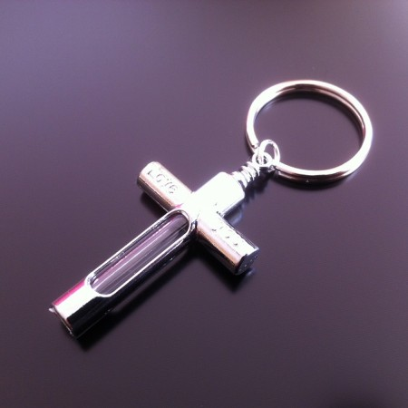 metal cross rice charm key ring