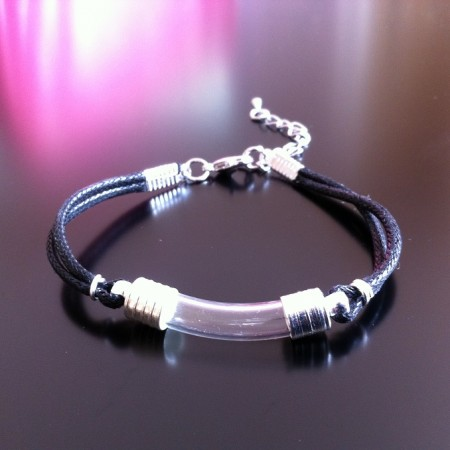 Rice Charm on Waxed Cord Bracelet