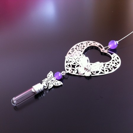 silver filigree heart and butterfly amethyst rice charm