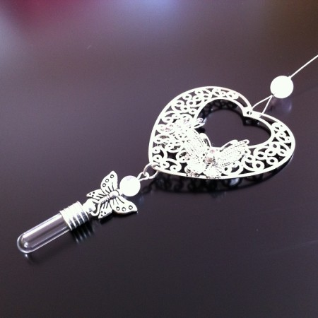 silver filigree heart and butterfly rose quartz rice charm