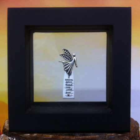 rice writing in frame - angel charm
