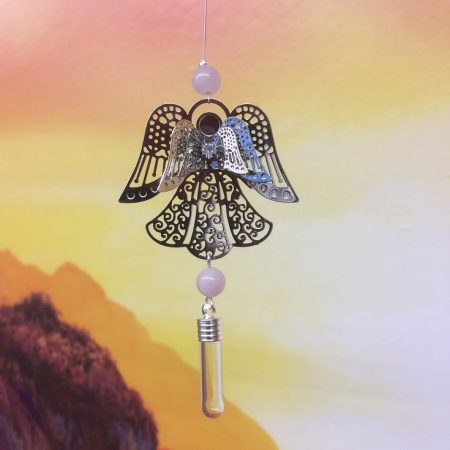 rice writing filigree angel dreamcatcher rice charm with rose quartz crystal