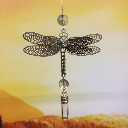 rice writing filigree dragonfly dream catcher rice charm with rainbow glass bead