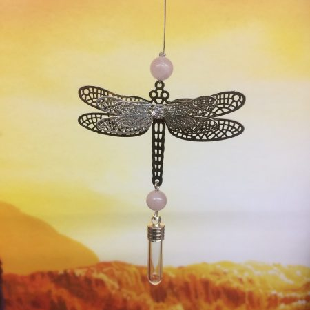 rice writing filigree dragonfly dreamcatcher rice charm with rose quartz crystal