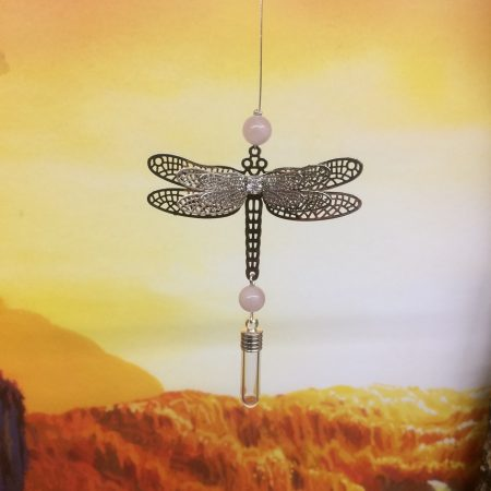 Filigree Dragonfly Dreamcatcher Rice Charm with Crystal