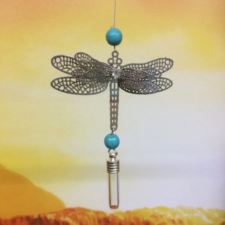 rice writing filigree dragonfly dreamcatcher rice charm with turquoise crystal