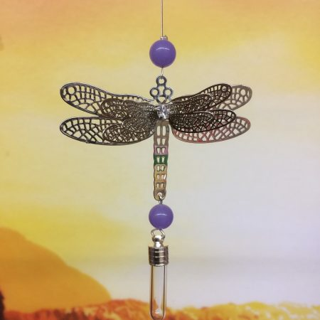 rice writing filigree dragonfly dreamcatcher with lilac jade crystal