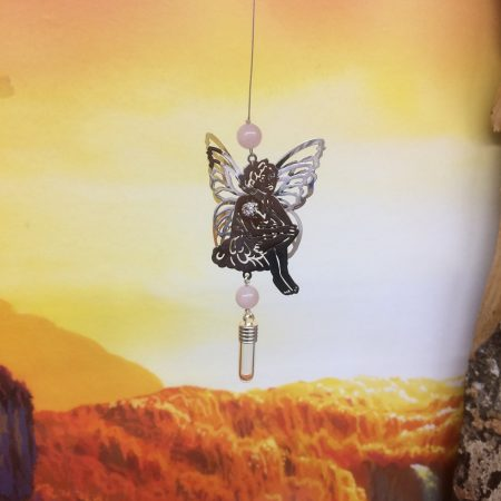 Filigree Fairy Dreamcatcher Rice Charm with Crystal