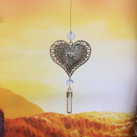 Filigree Flowering Heart Dreamcatcher Rice Charm With Crystal