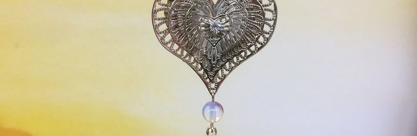 rice writing filigree four heart dreamcatcher rice charm with opalite crystal - small image