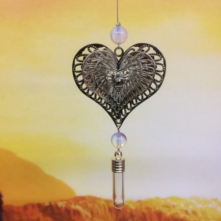 rice writing filigree four heart dreamcatcher rice charm with oplalite crystal