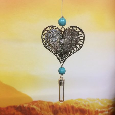 rice writing filigree four heart dreamcatcher rice charm with turquoise crystal