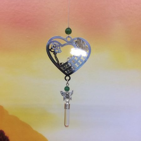 Filigree Heart & Butterfly Dreamcatcher Rice Charm with Crystal