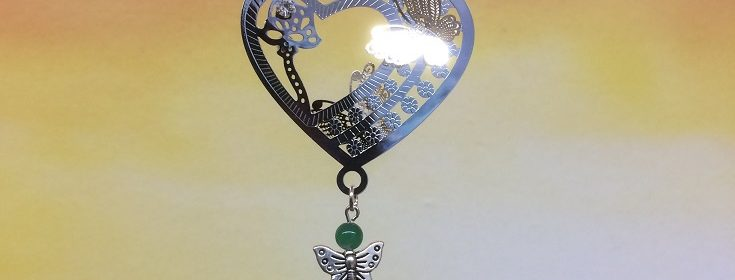 rice writing filigree heart and butterfly dreamcatcher rice charm with green agate crystal