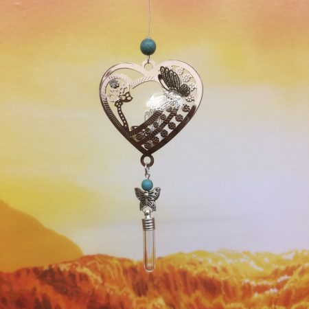 rice writing filigree heart and butterfly rice dreamcatcher rice charm with turquoise crystal