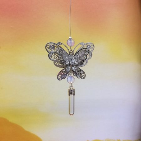 Filigree Large Butterfly Dreamcatcher Rice Charm with Crystal