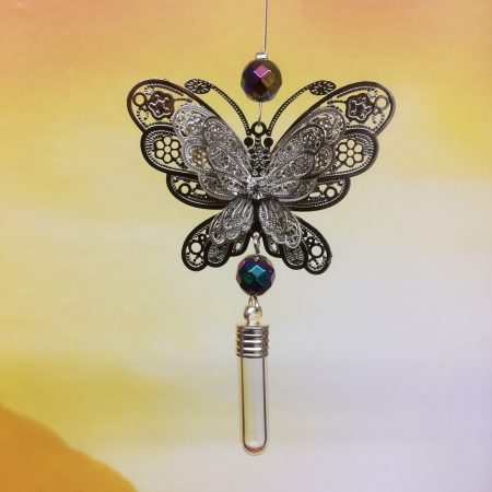 rice writing filigree large butterfly dreamcatcher rice charm with faceted rainbow hematitie crystal