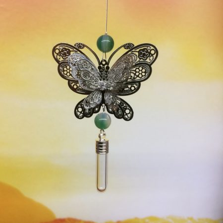 rice writing filigree large butterfly dreamcatcher rice charm with green agate crystal