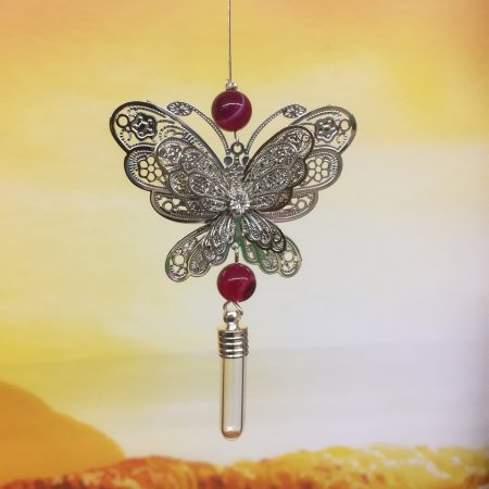 rice writing filigree large butterfly dreamcatcher rice charm with pink agate crystal