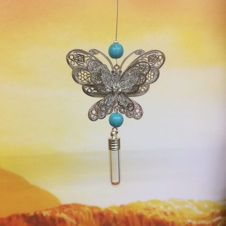 rice writing filigree large butterfly dreamcatcher rice charm with turquoise crystal