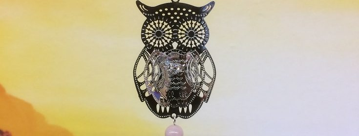 rice writing filigree owl dreamcatcher rice charm with rose quartz crystal