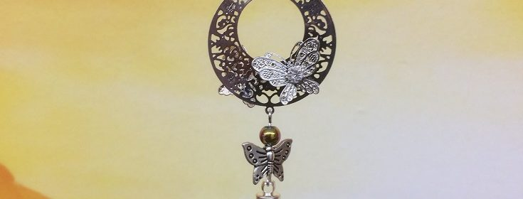 rice writing filigree round butterfly dreamcatcher rice charm with hematite crystal