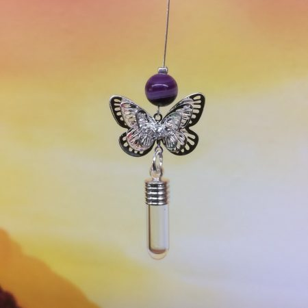 rice writing filigree small buttefly dreamcatcher rice charm with purple banded agate crystal