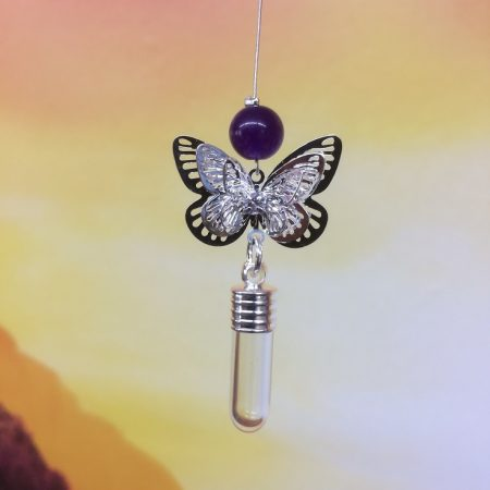 rice writing filigree small butterfly dreamcatcher rice charm with amethyst crystal
