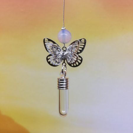 rice writing filigree small butterfly dreamcatcher rice charm with opalite crystal