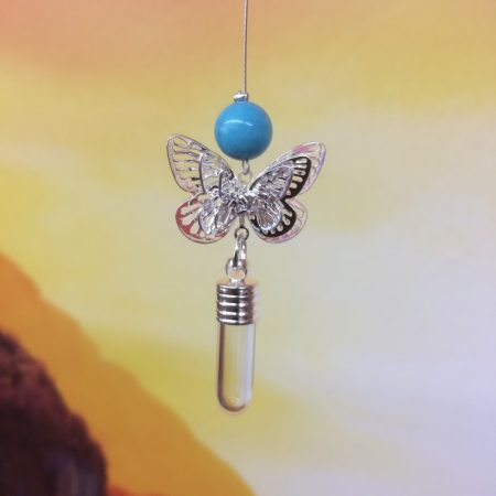 Filigree Butterfly Dreamcatcher Rice Charm With Crystal