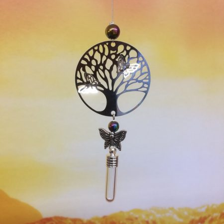 rice writing filigree tree of life dreamcatcher rice charm with hematite crystal