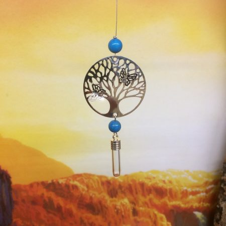 Filigree Tree of Life Dreamcatcher Rice Charm with Rose Quartz Crystal