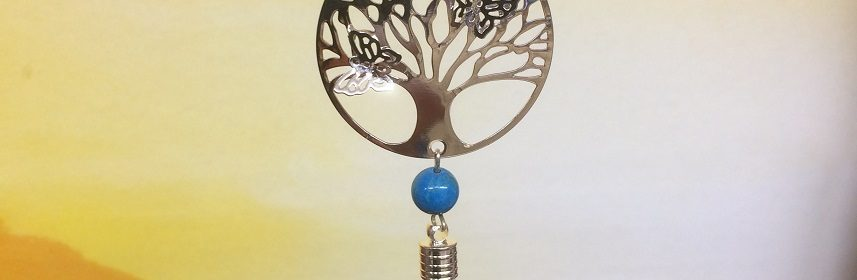 rice writing filigree tree of life dreamcatcher rice charm with turquoise crystal - small image