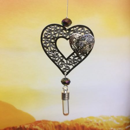 rice writing filigree twin heart dreamcatcher rice charm with faceted rainbow hematite crystal