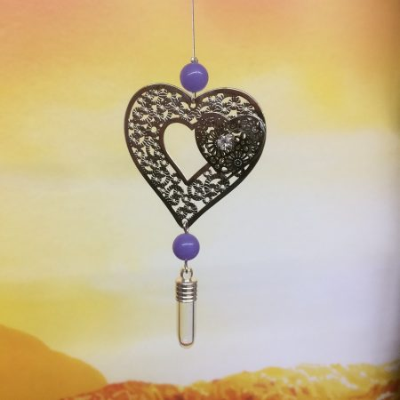 rice writing filigree twin heart dreamcatcher rice charm with lilac jade crystal