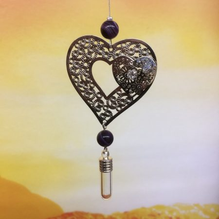 rice writing filigree twin heart dreamcatcher rice charm with purple agate crystal