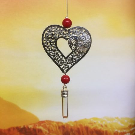 rice writing filigree twin heart dreamcatcher rice charm with red coral crystal