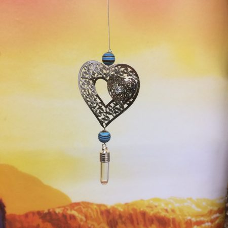 Filigree Twin Heart Dreamcatcher Rice Charm with Crystal