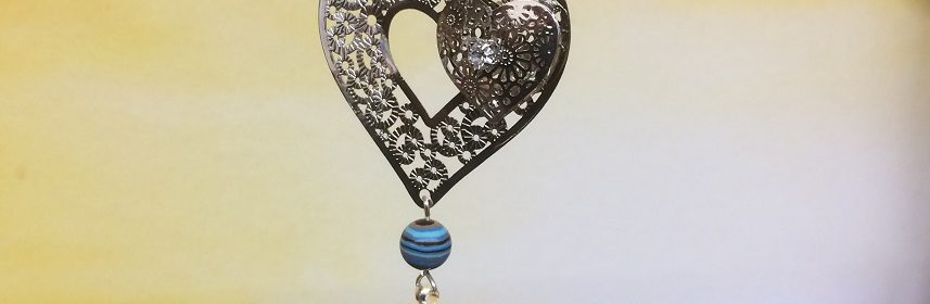 rice writing filigree twin heart dreamcatcher rice charm with turquoise black howlite - small image