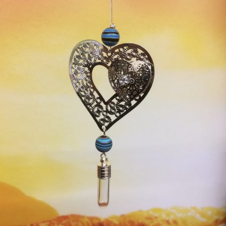 rice writing filigree twin heart dreamcatcher rice charm with turqupoise black howlite crystal
