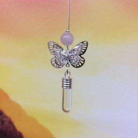 rice writing small butterfly filigree dreamcatcher rice charm with rose quartz crystal