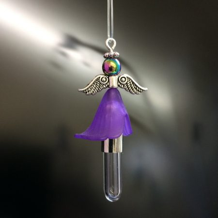 rice writing hanging angel rice charm with purple skirt and rainbow hematite crystal