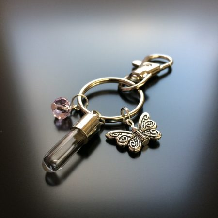 rice writing rice charm key ring with butterfly charm and pink swarovski crystal