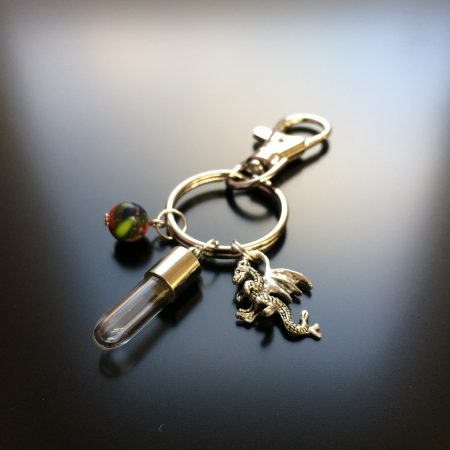 rice writing rice charm key ring with dragon charm and picture jasper crystal