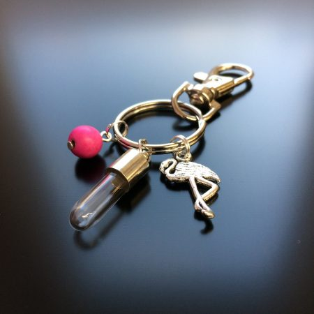 rice writing rice charm key ring with flamingo charm and hot pink howlite crystal