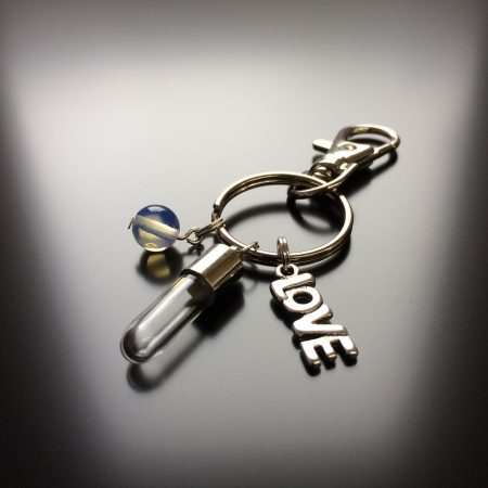rice writing rice charm key ring with love charm and opalite crystal