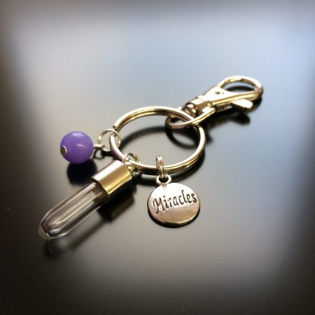 rice writing rice charm key ring with miracles charm and lilac jade crystal