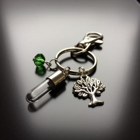 rice writing rice charm key ring with tree charm and green swarovski crystal