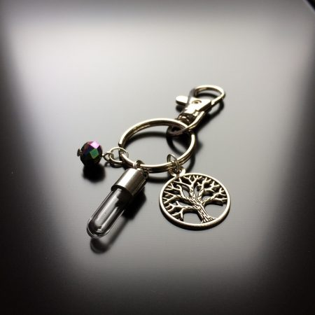rice writing rice charm key ring with tree of life charm and faceted rainbow hematite crystal