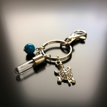 rice writing rice charm key ring with turtle charm and turquoise howlite crystal